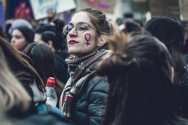 young feminist woman