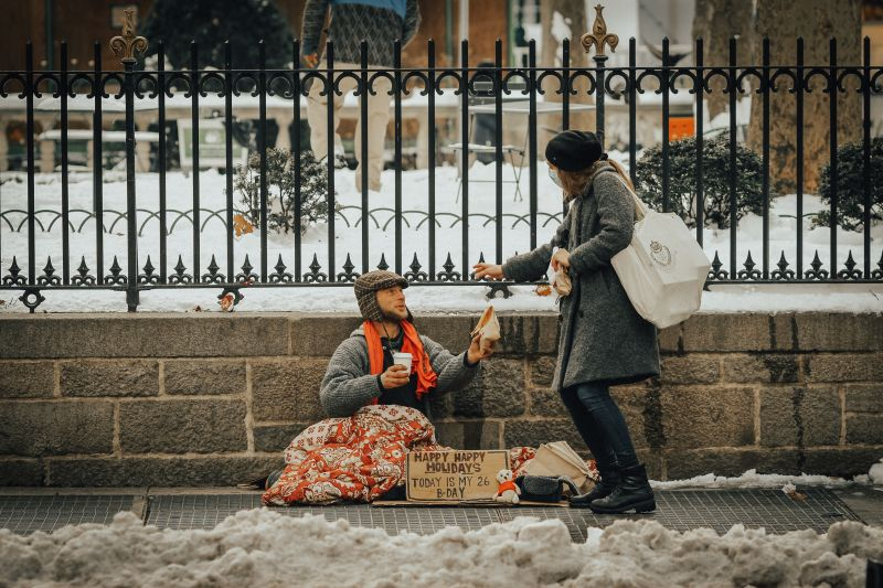 giving to beggar